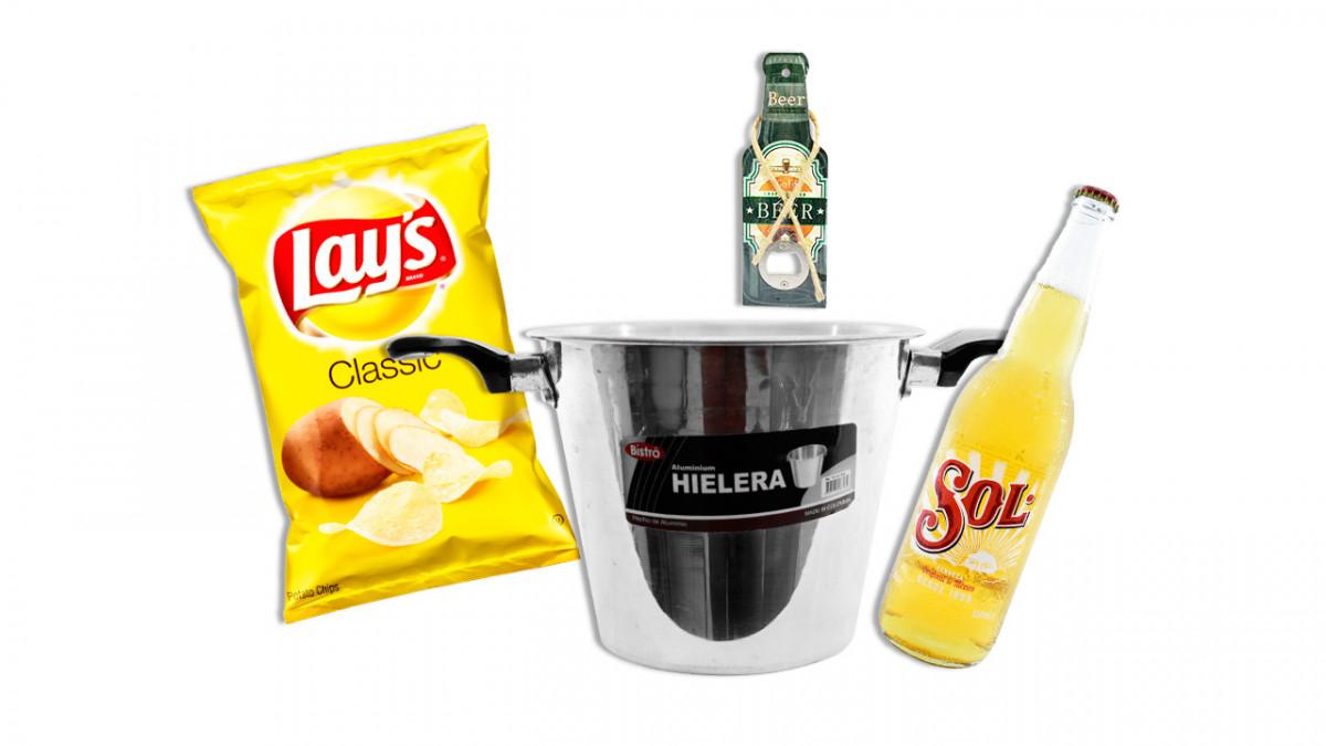 Combo eliminatorias al Mundial incluye Chapañera cerveza papa frita  abridor