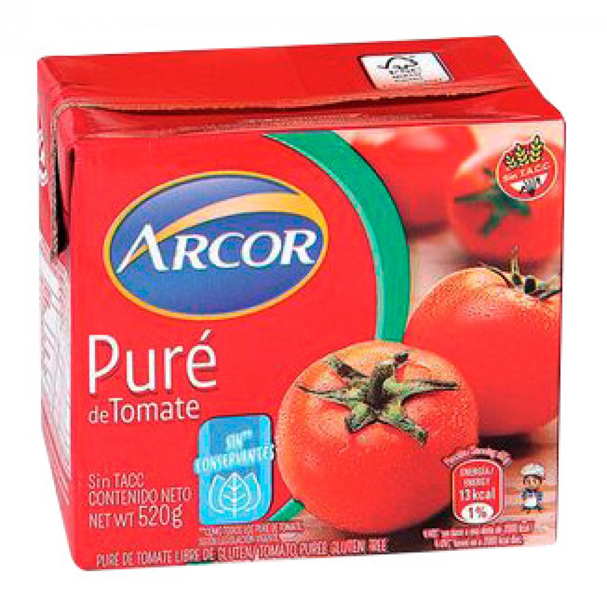 Pure de tomate Arcor presentacion tetrapack de 520 gr.