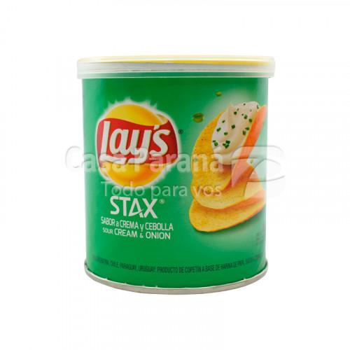 Papas stax sour cream onion en pote de 40gr.