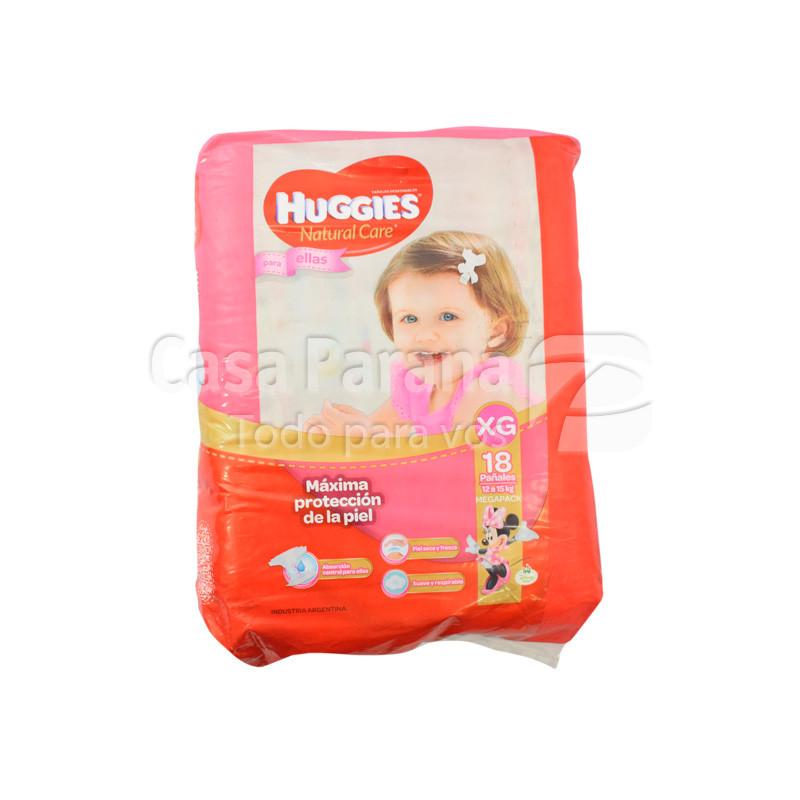 Pañal desechable natcare para niñas de 18 unidades tamaño mediano