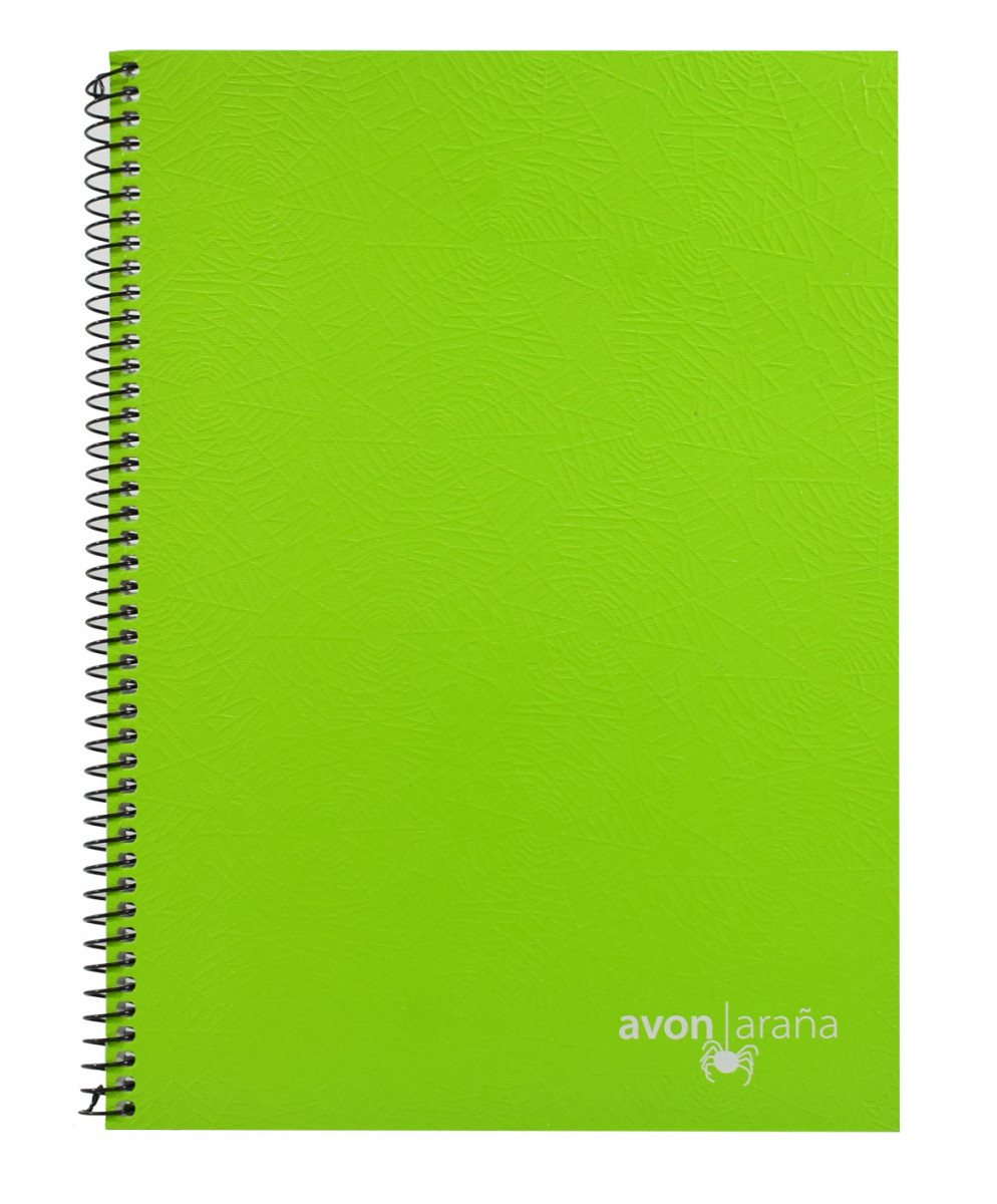 Cuaderno univ. tapa dura 96 hojas arana verde limon