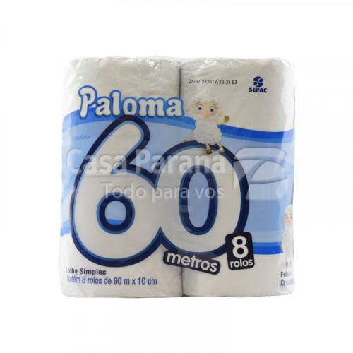 Papel higienico Neutro hoja simple 60 mts 8pz