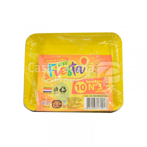 bandeja de carton amarilla N°3 de 10 unidades
