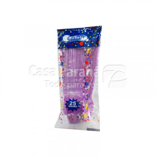 cucharita de plastico lila de 25 unidades