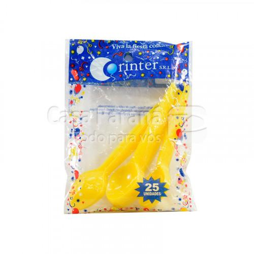 cucharita de plastico amarillo de 25 unidades