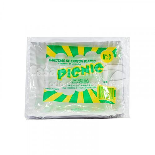 bandeja de carton blanco  N°3 (25 unidades)