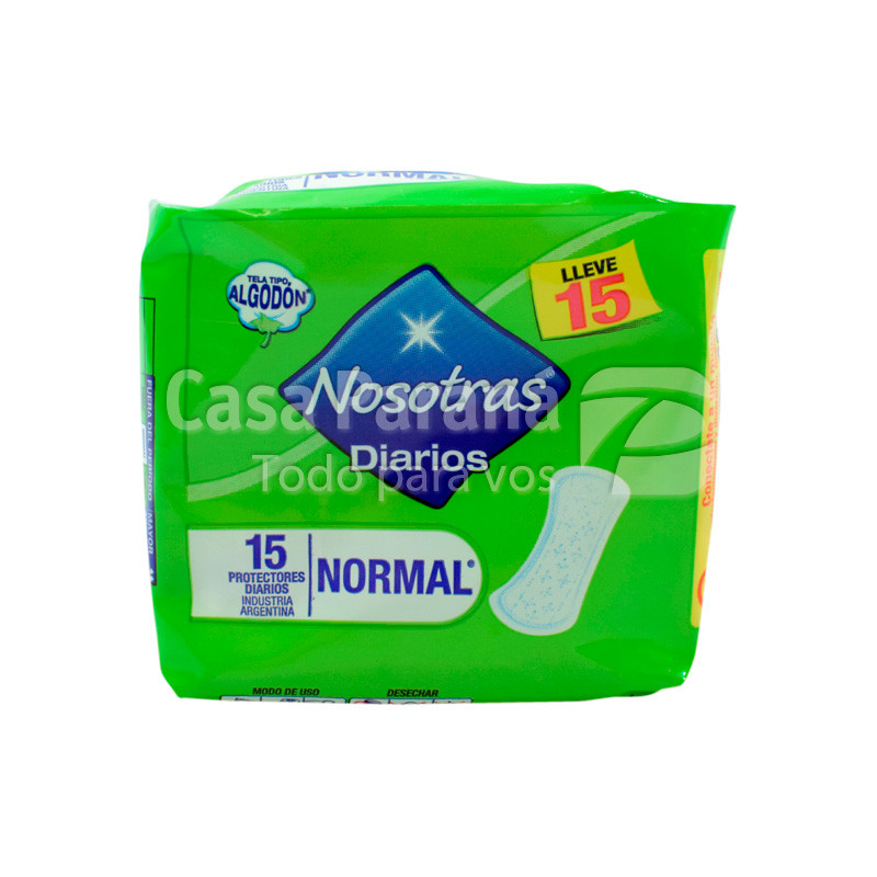 toallitas higiénicas diarios normal de 15 unidades