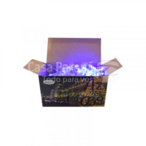 Foquito de 200 luces led, lineal, cable transparente, luz azul.