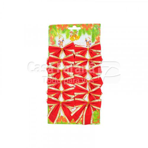Moño navideño rojo con bordes dorados 12 pz