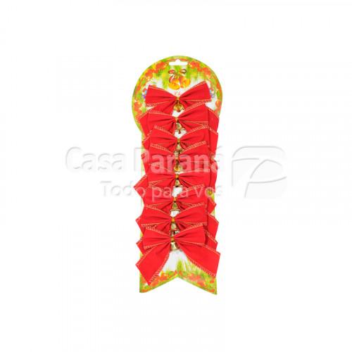 Moño navideño rojo de 8pz