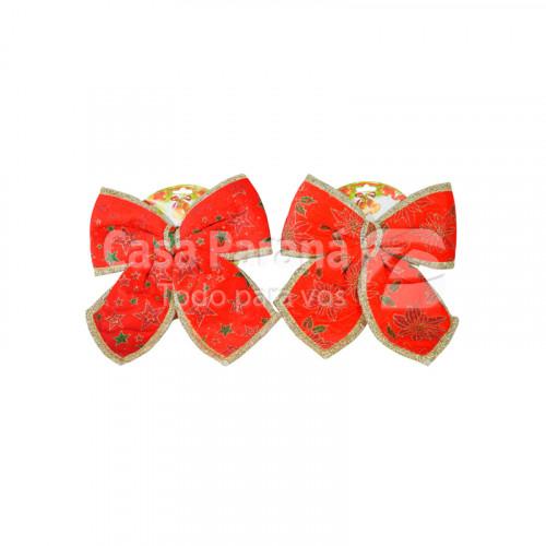 Moño navideño con diseño rojo con bordes dorado