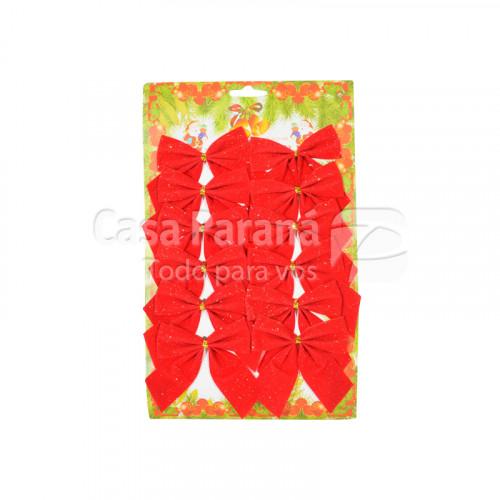 Moño navideño rojo de 12pz