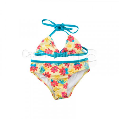 Traje de baño para niña de 2 piezas estampado en colores rosa y amarillo, tamaño 8-10-12-14-16