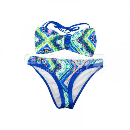 Malla para dama estampado en color azul, amarillo y rosa, tamaños P-M-G-XL