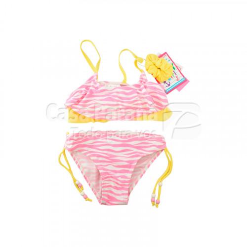 Traje de baño para niña diseño animal print color azul, rojo, rosado y celeste, tamaño 2-4-6-8
