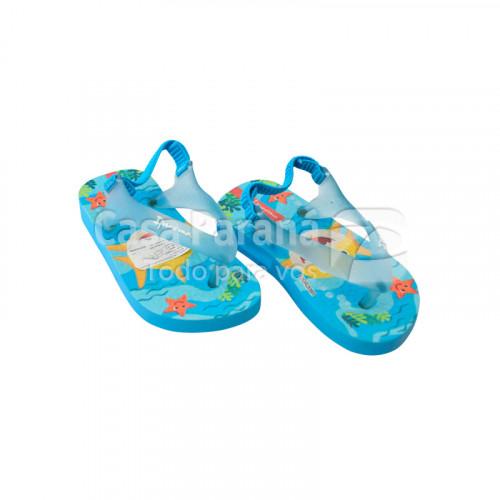 Zapatilla con goma para bebécon disños en color rosado,celeste, azul, calce del 17 al 21