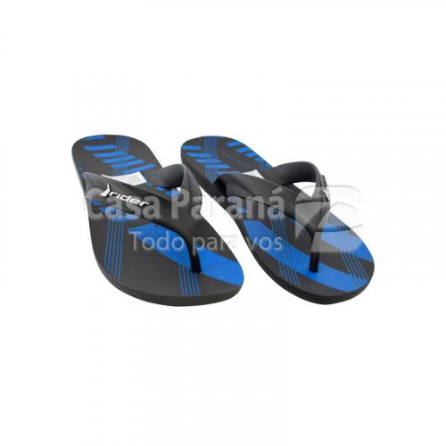 Zapatilla para caballero color gris, negro con azul, calce del 39 al 44