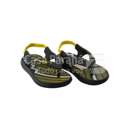 Zapatilla para bebé color negro con azul, negro con amarillo, calce del 17 al 21