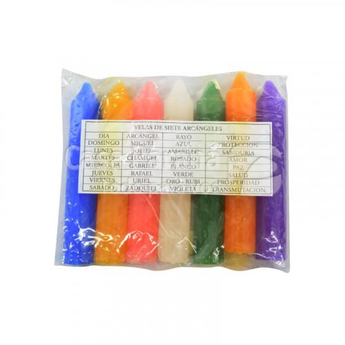 Vela multicolor de 7 unidades