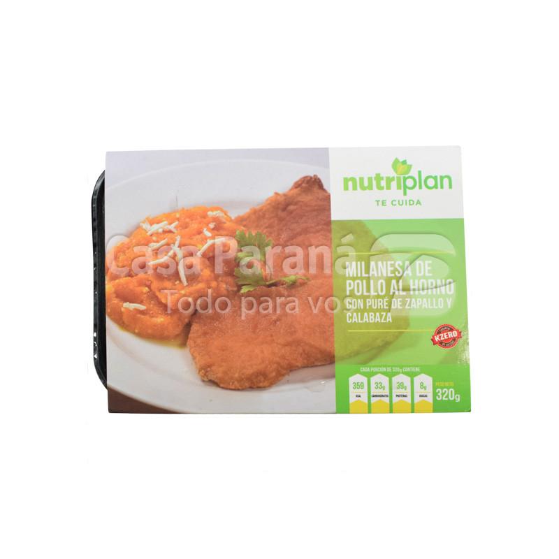 Milanesa de pollo con pure de zapallo y calabaza en paquete de 320gr.