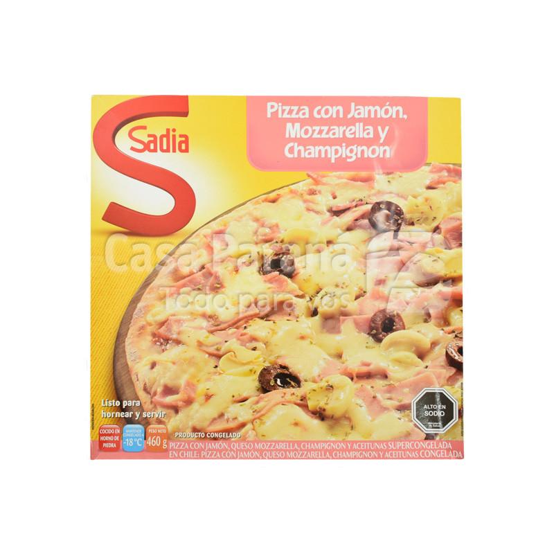 Pizza jamon, queso y mozzarela 460gr.