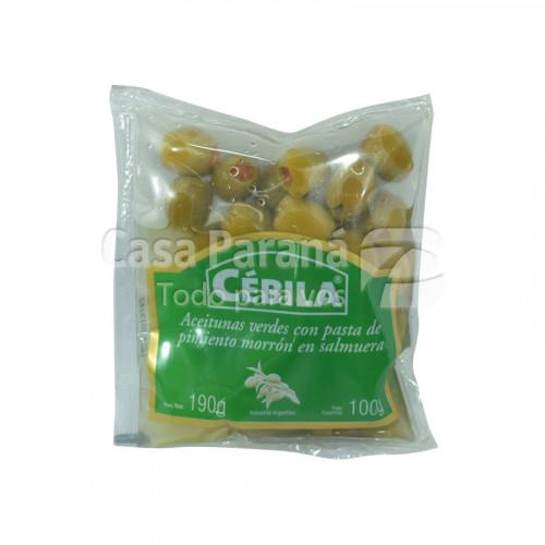 Aceitunas verdes rellenas con pasta de pimiento morrón de 190g