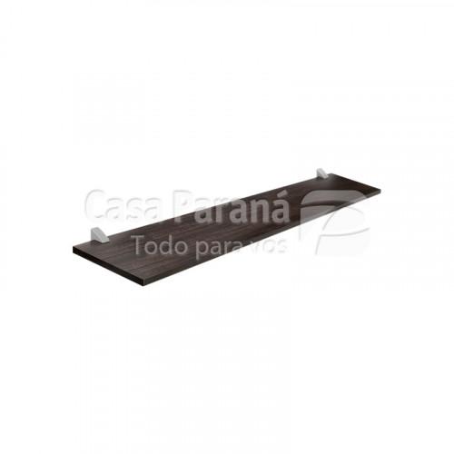 Repisa color tabaco con soporte cromado de 25x60 cm