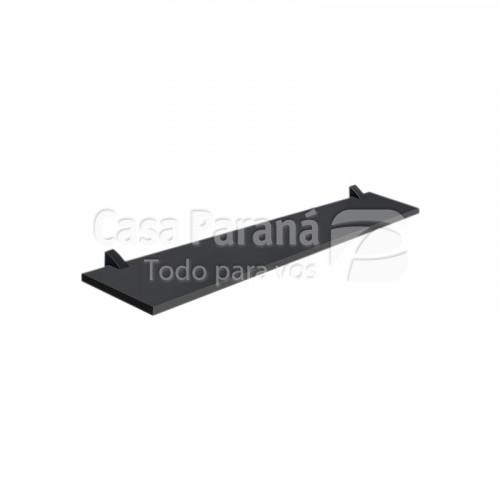 Repisa color negro de 25x80 cm con soporte cromado