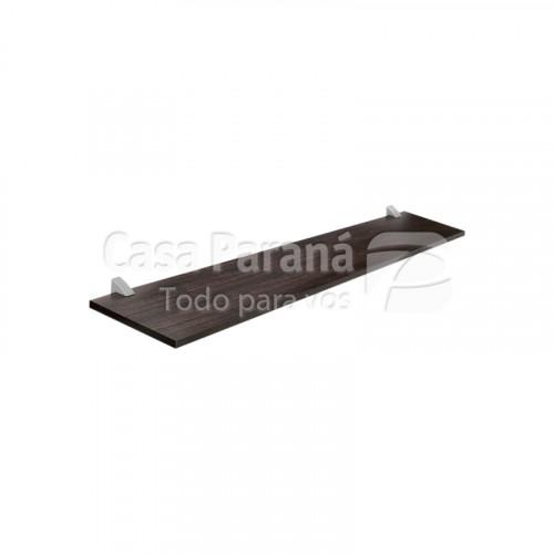 Repisa color tabaco de 25x100 cm con soporte cromado