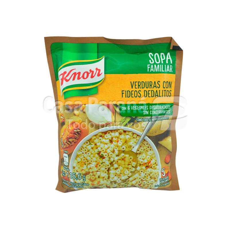 Sopa verde con fideo deda en paquete de 6gr