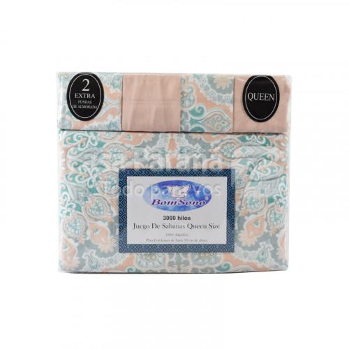 Juego de sábana de 6 piezas de 1.60x 2.00 m 100% algodón