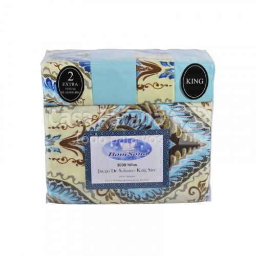 Juego de sábana de 4 piezas de 2.00x 2.00x30 100% algodón