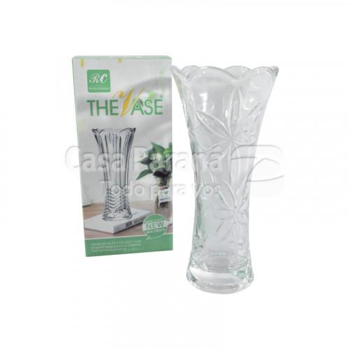 Florero de vidrio con diseño de flor
