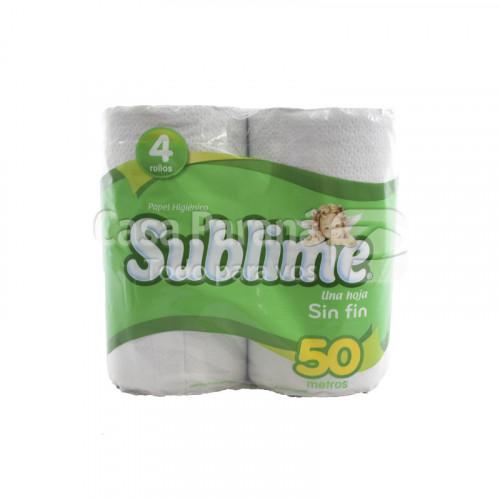 Papel higienico SUBLIME 4 pz. 50 mts. 1x12